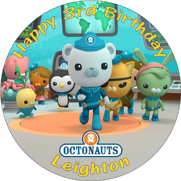 OCTONAUTS PERSONALISED ROUND PRINTED BIRTHDAY CAKE TOPPER DECORATION